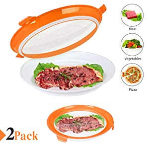Food Preservation Tray Vacuum Seal, Healthy Fresh Tray Food Storage Container With Elastic Lids, Kitchen Refrigerator Storage Container Set Reusable for Long Food Freshness Preservation 2Pcs (Orange)