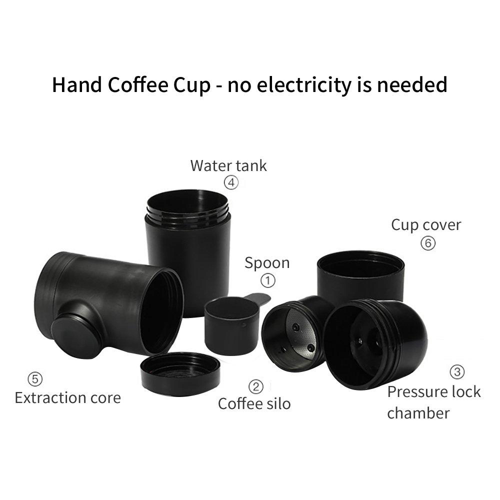 Reisen keine Batterie oder Strom erforderlich Tragbarer Espressokocher Outdoor ideales Geschenk f/ür Familie tragbar Camping PDR Reise-Mini-Espressomaschine f/ür Zuhause