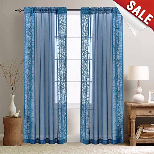 Embroidery Sheer Curtains for Living Room 95 inch Long Blue Window Treatment for Bedroom Voile Curtain (1 Panel, 95