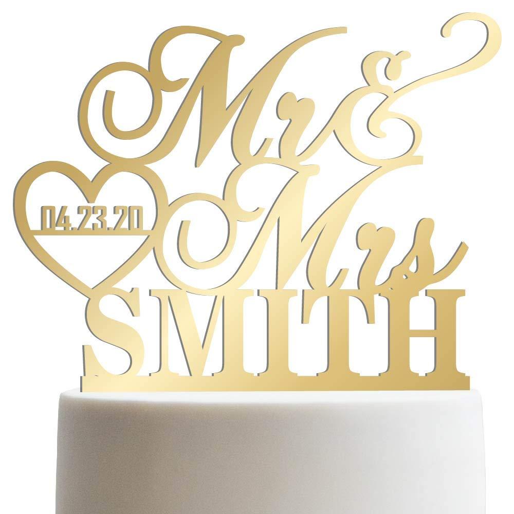 Custom name date topper Name wedding topper cake topper glitter cake topper