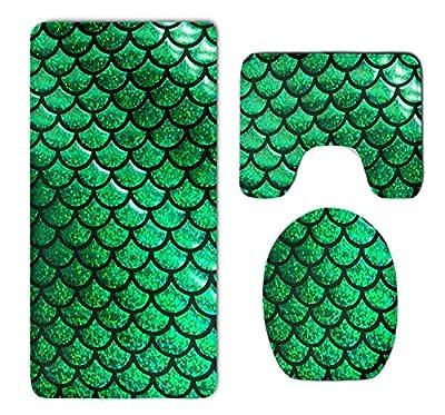 Geng Fenki 3pcs Set Rugs Skidproof Toilet Seat Cover Bath Mat Lid Cover Cushions Pads