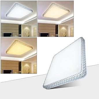 HG® 60W LED Deckenleuchte Wandlampe Farbwechsel Deckenlampe 3in1 Kristall  Deckenbeleuchtung Eckig Lampe Wohnraum Esszimmer Badlampe