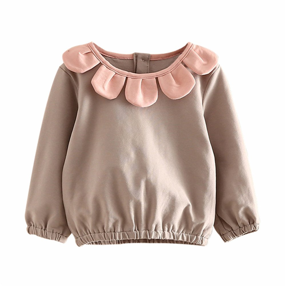 Mud Kingdom Girl Floral Long Sleeve T-Shirt Solid Color Bottoming Shirt