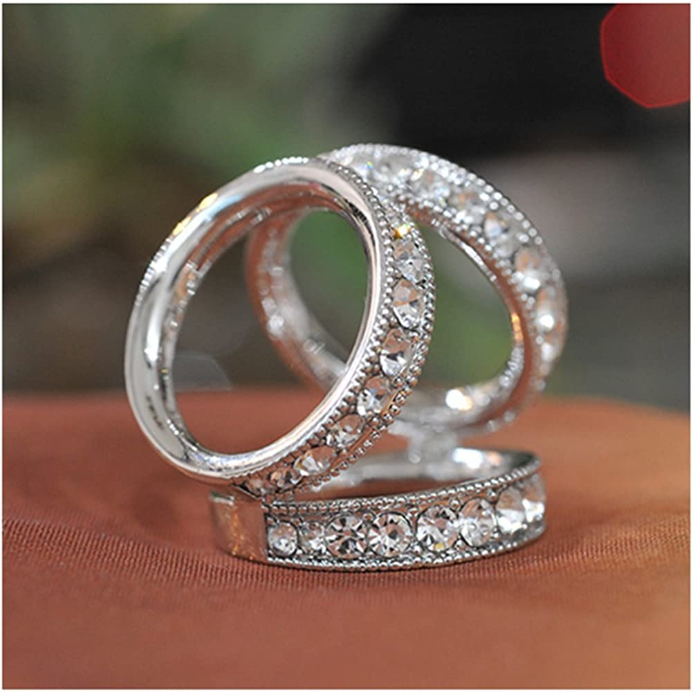 SevenAndEight S&E mujeres elegante 3D tres anillos bufanda anillos ...