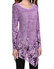 Zainafacai Womens Summer Long Sleeve Floral Print Irregular Hem Loose Plus Size Fit Tunic Tops