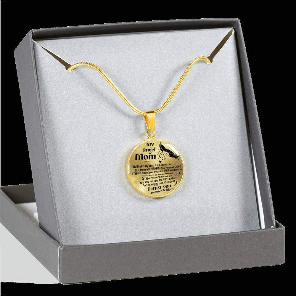Memorial for Mothers from Son Daughter I Miss You So Much Mom Pendant Inspirational ThisYear My Angel Mom Circle Necklace Chain