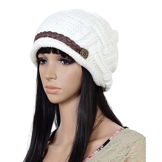 Women Knit Snow Hat Winter Snowboarding Beanie Crochet Cap (White ... 109b4405b62