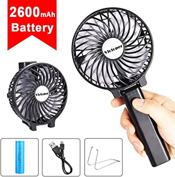 2600Mah Battery Handheld Fan Portable Operated USB Mini Personal Outdo Black