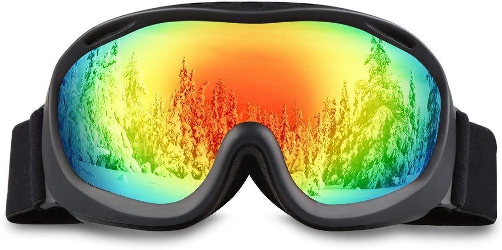 ALKAI Ski Goggles, Snowboard Goggles, Anti-Fog 100 UV Protection, Double-Layer Spherical Lenses, Helmet Compatible Medium Fit Snow Goggles for Men Women