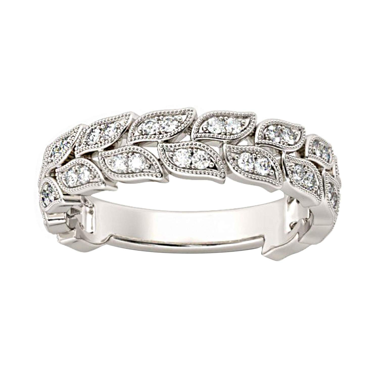 0.50 Ct Round Cut Simulated Diamond leaf Band Ring 14K White Gold Over