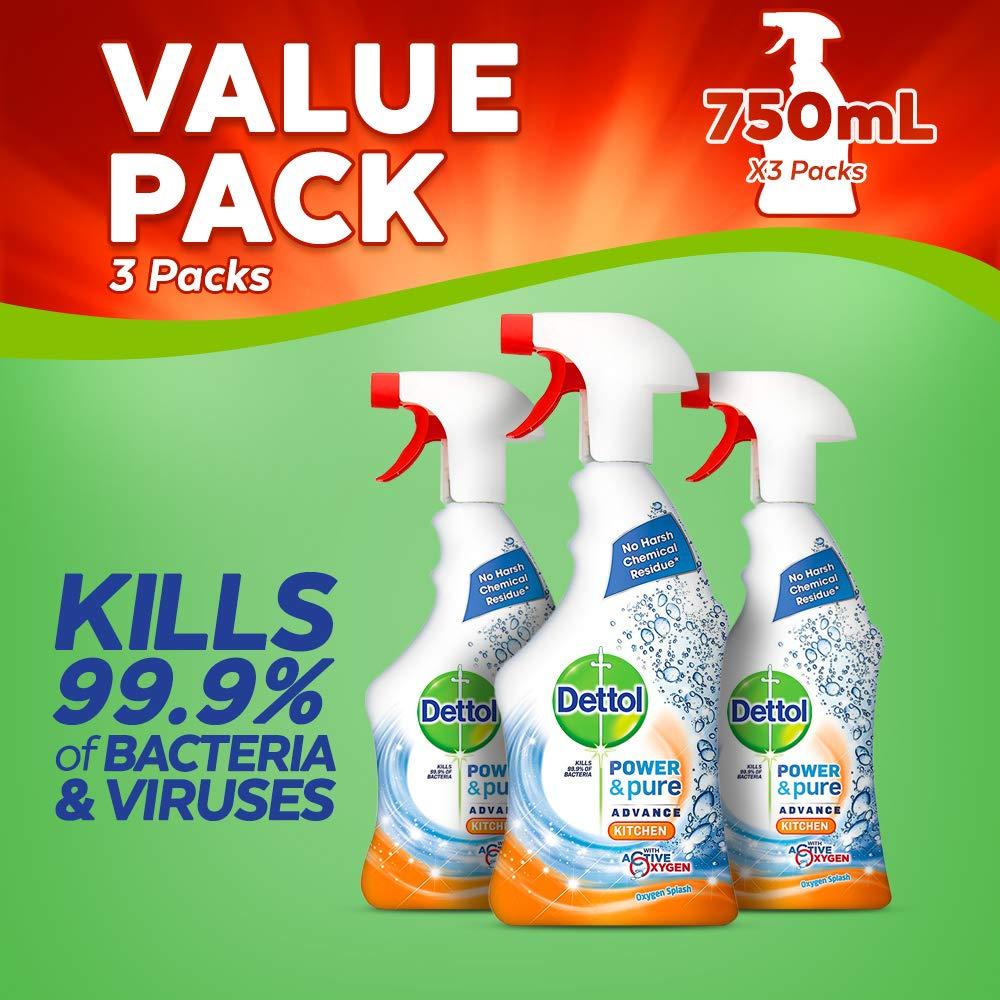 Dettol Power and Pure Advance Kitchen Spray, 750 ml, Pack of 3 Reckitt Benckiser