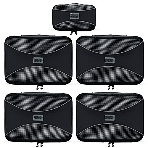 PRO Packing Cubes - (5 Pc MEDIUM Set) Travel Luggage Packing Organizers | Durable & Ultra Lightweight Design | Compress Gear By 30% | #1 Travel Accessory to Pack & Organize Bags, Suitcases & Backpacks by Pro Packing Cubes