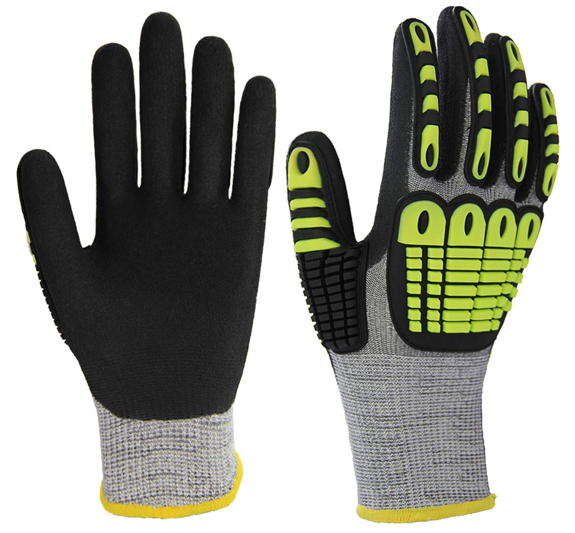 Impact Reducing Safety Gloves, Palm Nitrile Coated Grip and Proof, Cut Resistant Shell for Hand Protection, Ideal for Mechanic Garden Construction Car Repairing General Purpose Work.