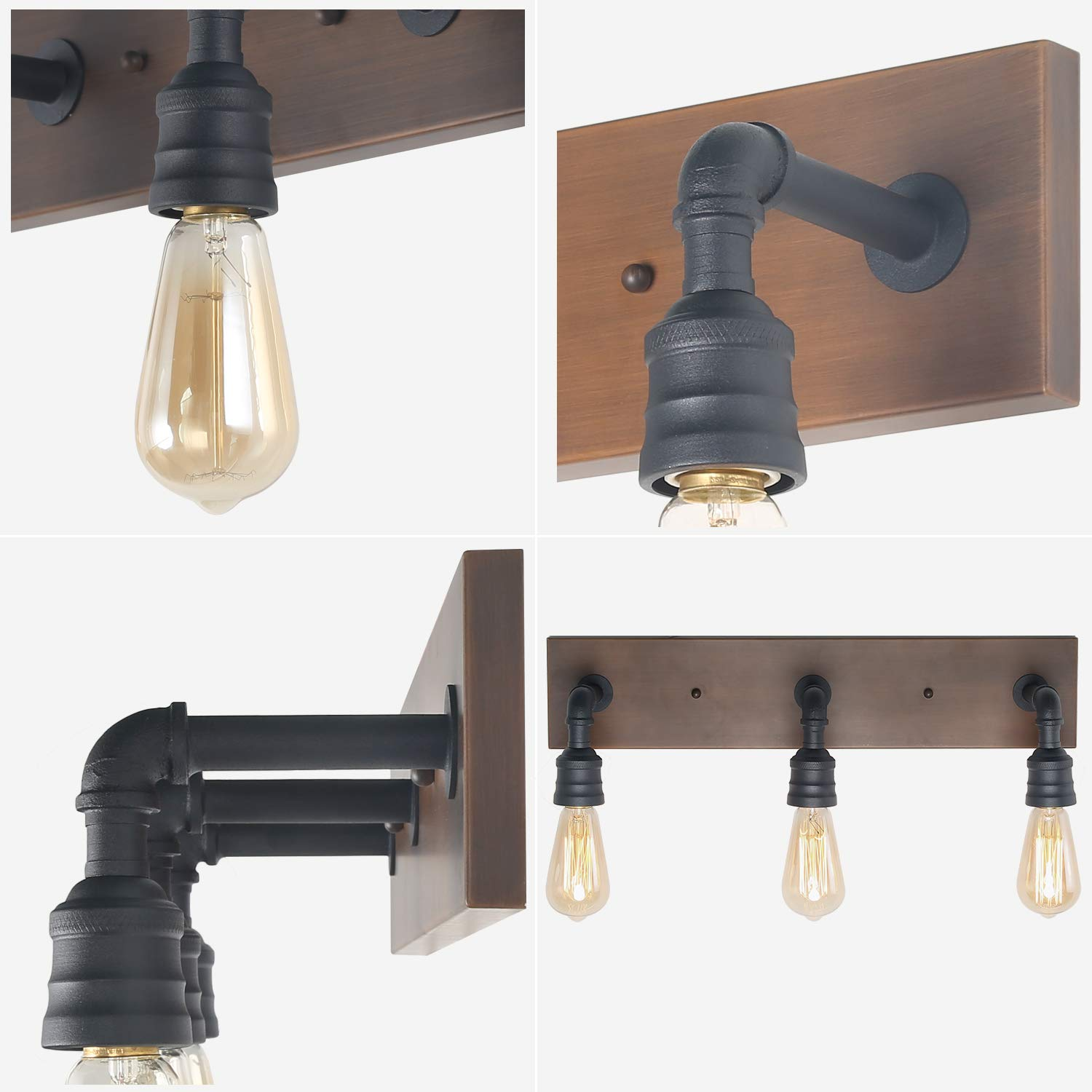 LNC Bathroom Vanity Lights, Farmhouse Wood and Water Pipe Wall Sconces(3 Heads )A03376, by LNC (Image #5)