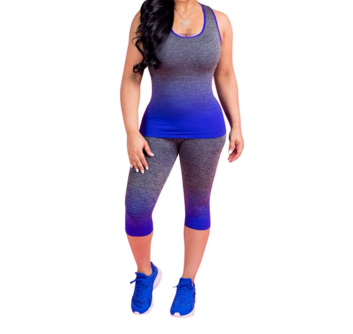 bluee Yoga Clothing Women Gym Suit Gradual Sports Vest Pants Push Up Running Tights Workout Legging High Waist Tummy Outdoor Indoor