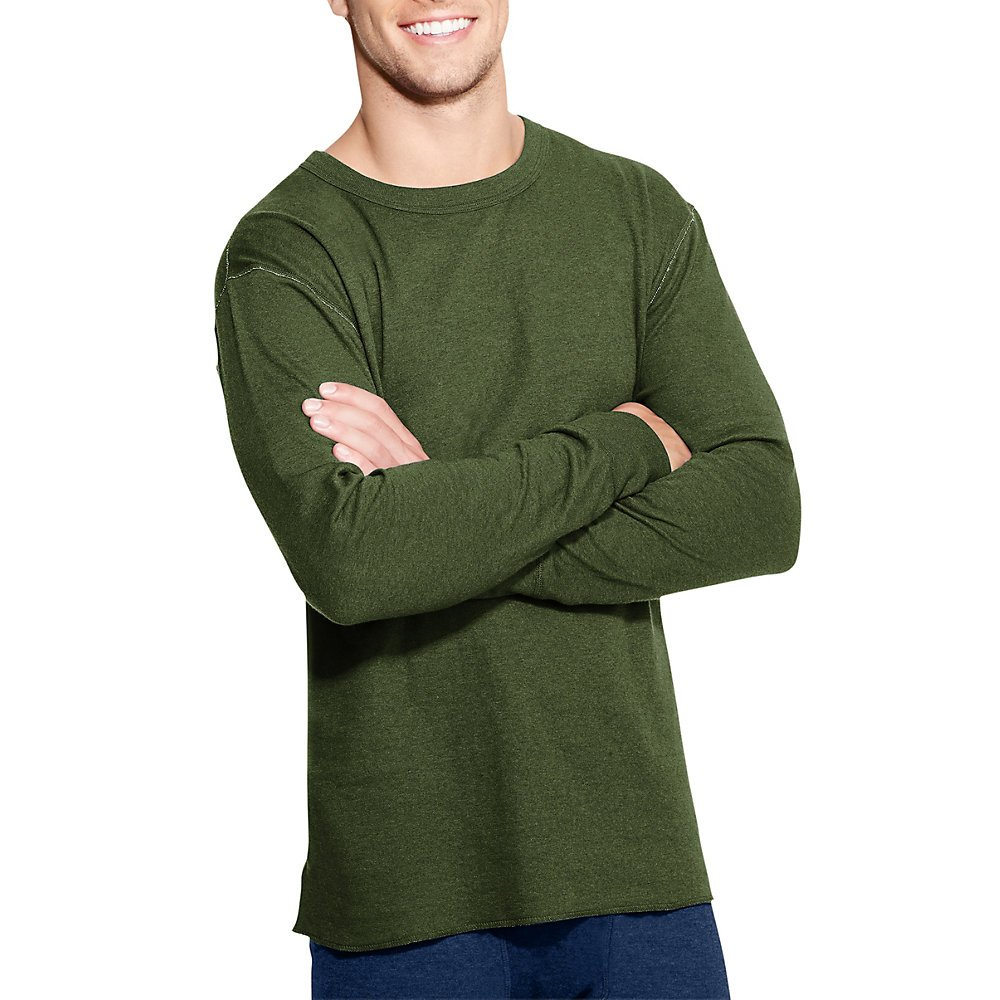 Duofold by Champion Originals Wool-Blend Men's Thermal Shirt_Olive Heather_M by Champion