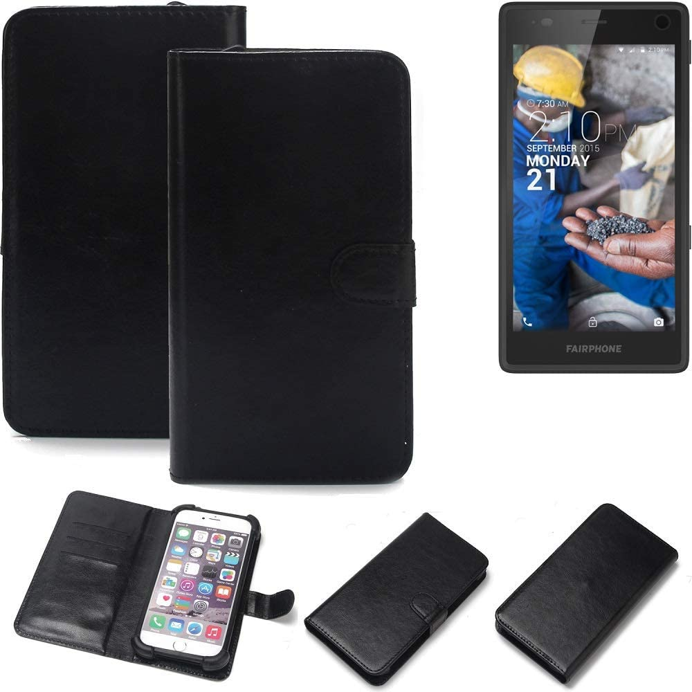 K-S-Trade 360° Wallet Case Fairphone Fairphone 2 Cover bookstyle Mobile Phone Protective Bag Bumper Pocket Sleeve Pouch flipcover flipcase Black, 1x: Amazon.es: Electrónica