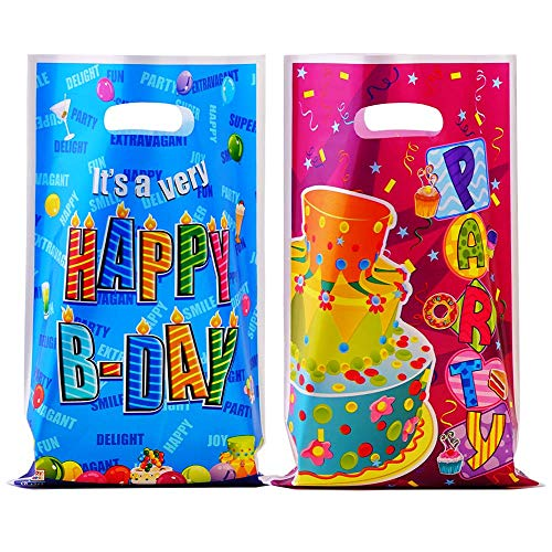 Happy Birthday Treat Bags - 60 Pieces Party Favor Bags Assorted Colors Goodies Bags