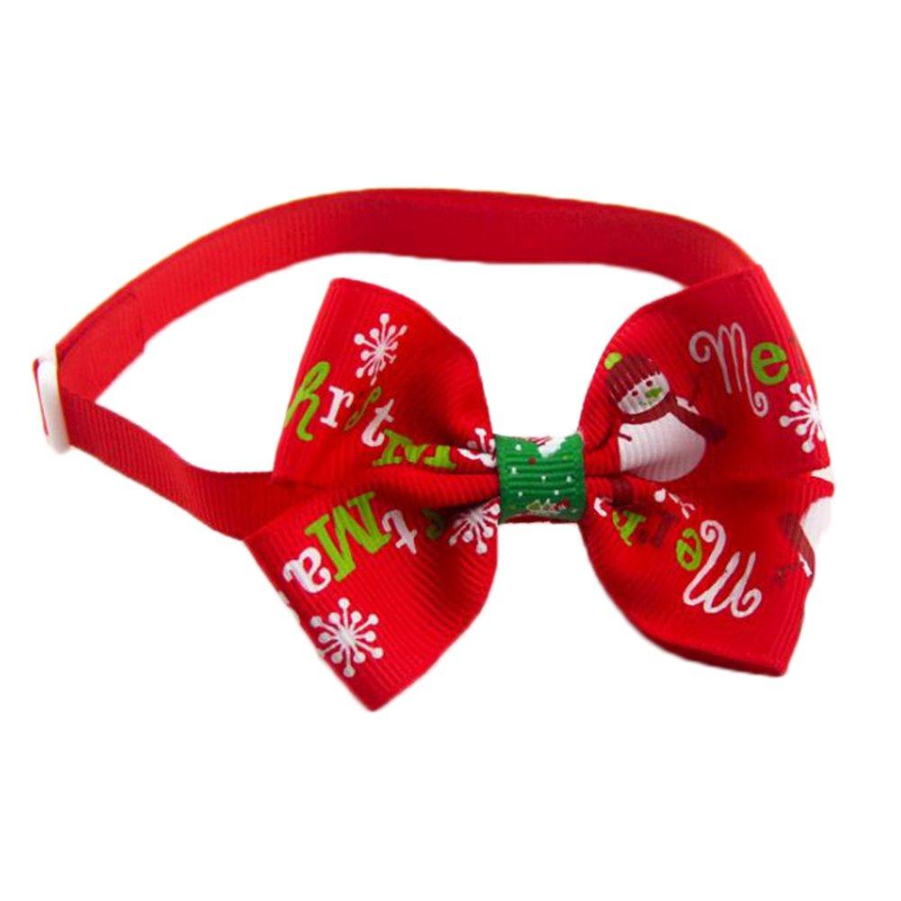 Toruiwa Accesorios para Mascotas Pajarita Navidad Corbata Ajustable para Perros Gato Fiesta de Navidad del Perro del Gato del Arco Lindo de la Navidad