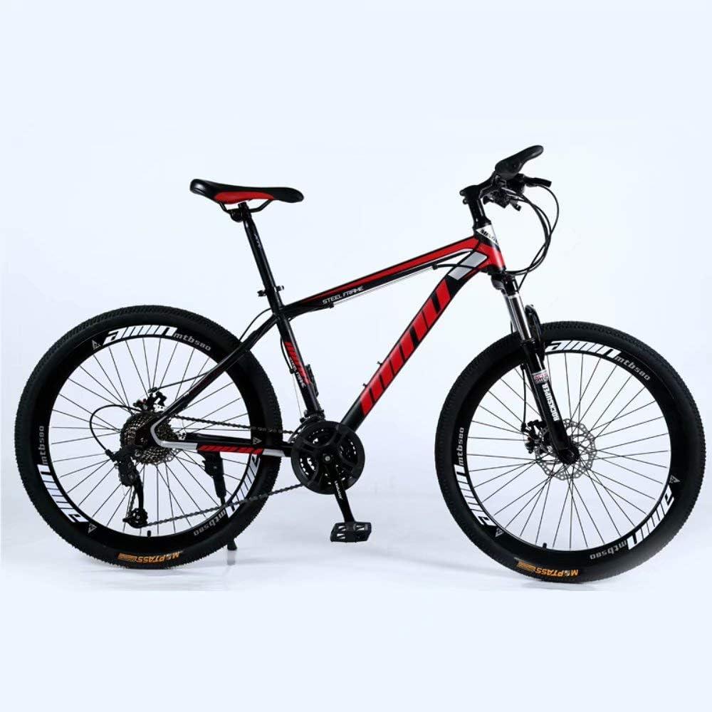 Novokart-Mountain Bike Unisex, Bicicletas montaña 21/24/27 Pulgadas, MTB para Hombre, Mujer, con Asiento Ajustable, Frenos de Doble Disco,Negro y Rojo,Rueda de radios