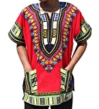 Full Funk Bright Unisex Dashiki Festival Shirt - African Top, Large, Red