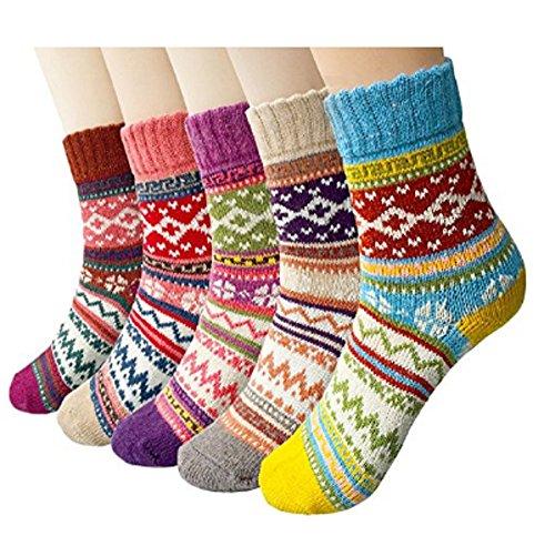 cks Women Warm Thick Knit Crew Socks Pack of 5 (Multicolor) (Multi Color Womens Socks)