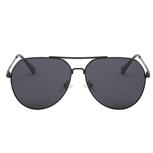 2a036ffc3ac Zeraca Retro Polarized Aviator Sunglasses For Men Women UV Protection  (Black Frame Black Lens)