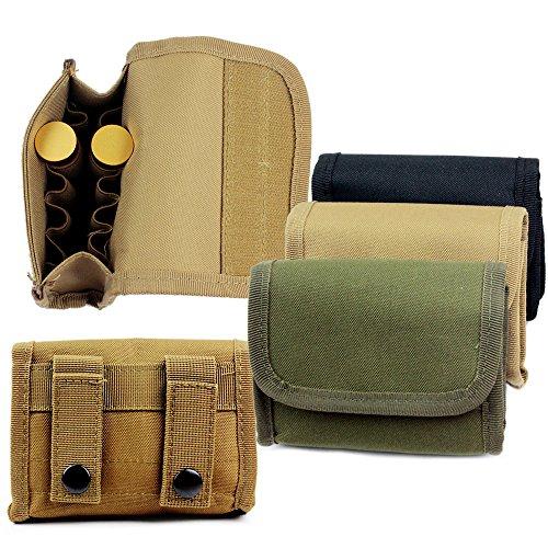 Round Pouch 20 Nylon (10 Round Shotgun Shotshell Reload Holder Molle Pouch For 12 Gauge/20G (Tan))