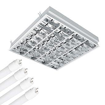 Cuadrícula - Lámpara con 4 x 10 W LED tubo, plantilla ...