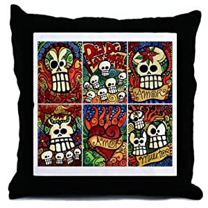 Day of the Dead Sugar Skulls Throw Pillow by CafePress