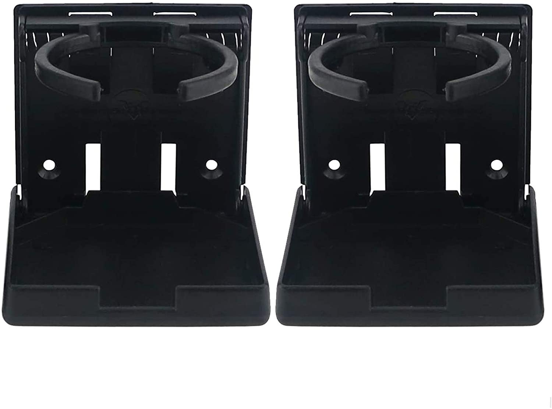 Ogrmar 2PCS Adjustable Folding Drink Holder/Adjustable Cup Holder for Marine/Boat/Caravan/Car/Trucks/RVs/Vans (Black)