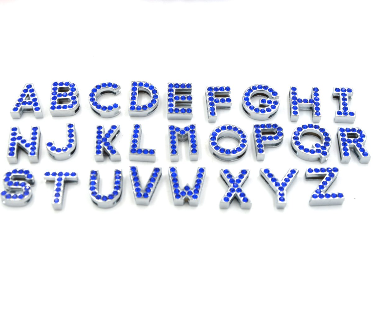 bluee 10mm bluee 10mm Yeahfits 26pcs A-Z Swarovski Crystal Rhinestone Diamante Letters Belt Webbing Dog Cat Pet Collar Personalized Name (10mm, bluee)