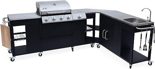 Alices Garden - Cocina exterior y barbacoa de gas Rochefort, 5 quemadores, fregadero, tabla de cortar, utensilios, zona de trabajo y termómetro: Amazon.es: Jardín