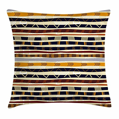 Ambesonne Abstract Throw Pillow Cushion Cover, Ethnic Style Geometric Forms with Striped Pattern on Bold Earth Tones Print, Decorative Square Accent Pillow Case, 16