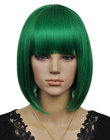 Kalyss Frauen Cosplay Party Kurze Gerade Dunkle Grüne Bob Haar