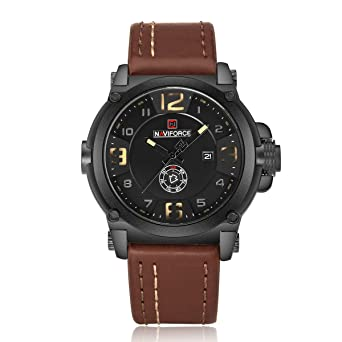 NX 9099 Men Sports Quartz Leather Calendar and Week Showed 30m Waterproof Wrist Watches (Dark
