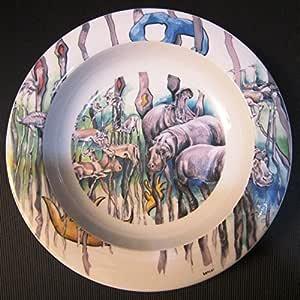 Kitwana BOPLA porcelana Safari verde PLATO HONDO Plato