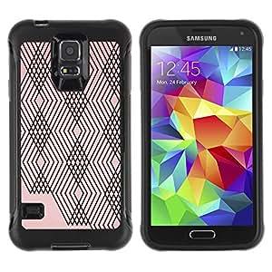 Híbridos estuche rígido plástico de protección con soporte para el SAMSUNG GALAXY S5 - abstract lines plaid peach pink black pattern
