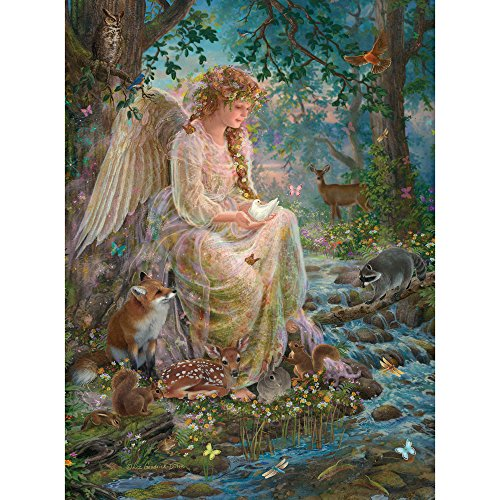 Angels Puzzle - Bits and Pieces - 1000 Piece Embellished Glitter Jigsaw Puzzle for Adults - Mother Nature - 1000 pc Forest Fantasy Angel Jigsaw by Artist Liz Goodrick-Dillon