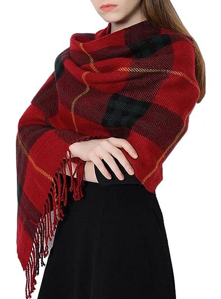 Sciarpa Donna Inverno, donna inverno scialle con tasche maglione cappotto Girl grandi Tartan Wrap Maglia Scialle Inverno Donna, Poncho Donna Invernale