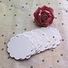 Hunulu 100pcs Round Flower Lace Blank Kraft Paper Hang Tags Wedding Party Favor Label Price Gift Card (White)