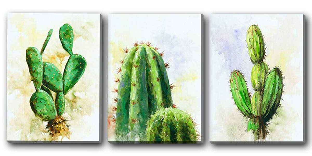 Hongwu Canvas Wall Art Cactus Plant Painting 3 Piece Canvas Prints Succulent Cactus Pictures Stretched and Framed Ready to Hang for Home Office Wall Decor 12x16inch