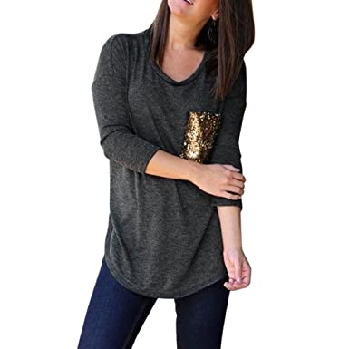 55b62445e72029 Bravetoshop Fashion Pocket Sequins Bling Womens Tops O-Neck Casual Pullover  T-Shirt Blouse