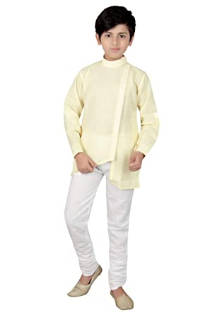 47f81ea5d945 Qtsy Kids Indian Ethnic New Designer Collection Fancy Kurta and Pyjama Set  for Boys (Lemon Color-2): Amazon.in: Clothing & Accessories