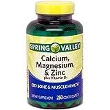 Spring Valley - Calcium Magnesium and Zinc, Plus Vitamin D3, 250 Coated Caplets