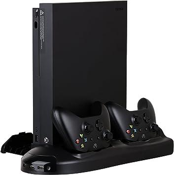 HEYSTOP Xbox One x soporte vertical ventilador de refrigeración con juego discos de almacenamiento & DualShock controlador de cargador, estación de carga para Xbox One x con indicador de carga: Amazon.es: Electrónica