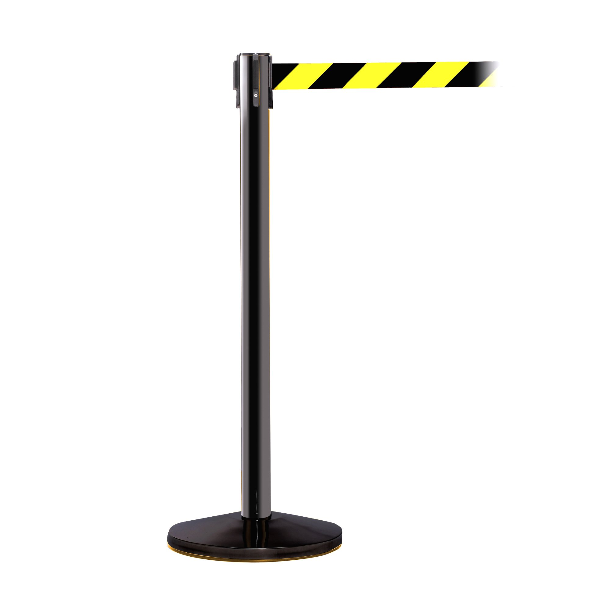 ComeAlong Crowd Control Stanchion Black Anti Scuff Pole with 11' Heavy Duty Diagonally Striped Nylon Belt, Yellow/Black (Pack of 2 Poles)