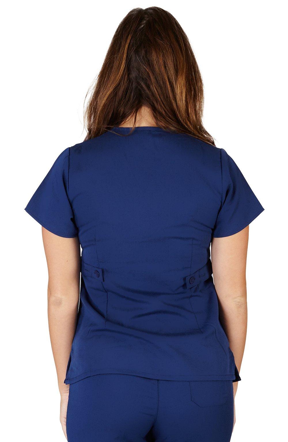 Ultra Soft Brand Scrubs - Premium Womens Junior Fit 3 Pocket Mock Wrap Scrub Top, Navy 36150-X-Small by ULTRASOFT SCRUBS (Image #2)