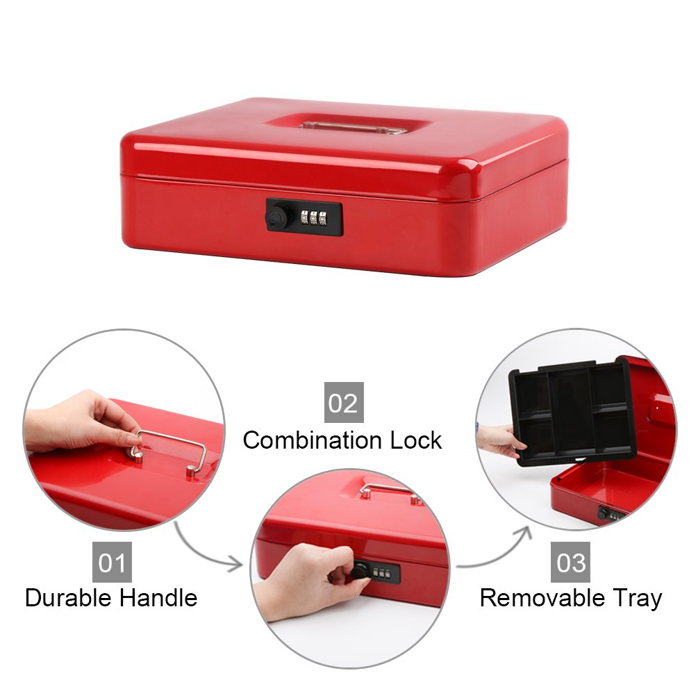 Safe Metal Cash Box with Money Tray & Combination Lock, Decaller Large Lock Storage Money Box with 5 Compartments Cash Tray, Red, 11 4/5'' x 9 2/5'' x 3 1/2'', QH3003L by Decaller (Image #5)