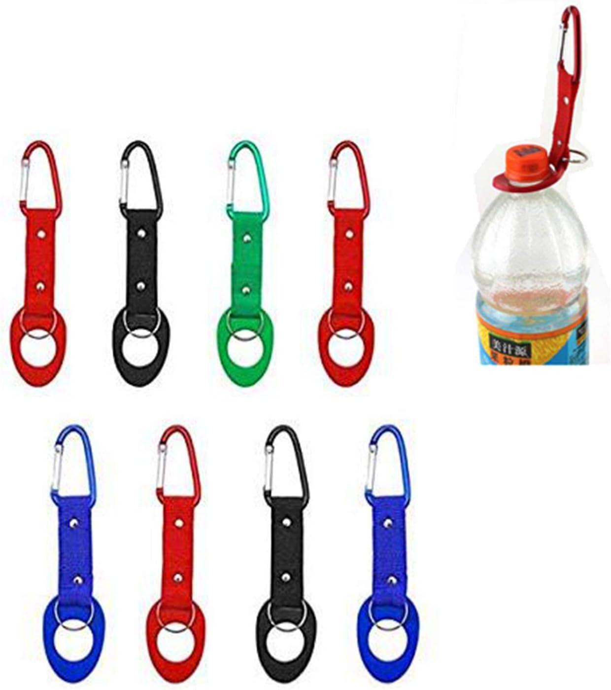 Qiajie 8 PCS Botella de Agua de Silicona portátil Colorida Hebilla de Botella Cómodo Clip de Transporte Gancho con Llavero para Acampar Senderismo Viajar (Color Aleatorio